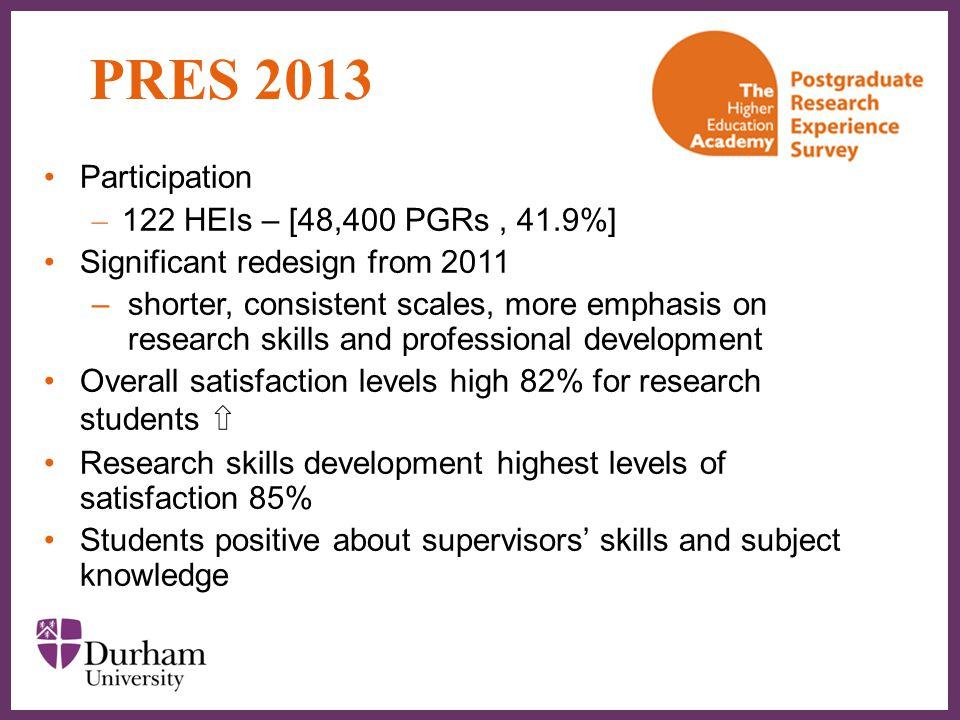 PRES 2013 Participation 122 HEIs – [48,400 PGRs , 41.9%]